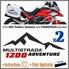 2x MULTISTRADA 1200 ADVENTURE black red Ducati ADESIVI  Aluminum Borse Laterali