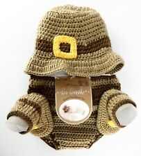 Hand Crocheted Baby Thanksgiving Photo Outfit So'Dorable Acrylic Size 0-6 Months
