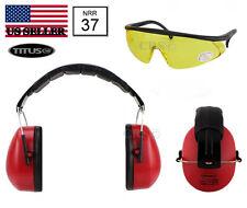 Shooting Range Earmuff Hearing Noise Reduction Ear Protection & Glasses 37 NRR