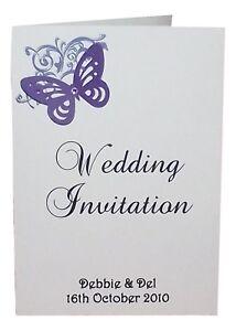wedding invitations, stationery Menus samples RSVP various colours Personalised