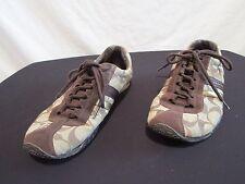 Coach Signature C Khaki Canvas, Brown Suede Women's Lace Up Sneakers Sz 6 M