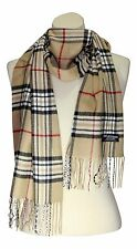 FREE SHIPPING 100% CASHMERE SCARF PLAID  COLOR CAMEL BEIGE WOOL Soft Warm