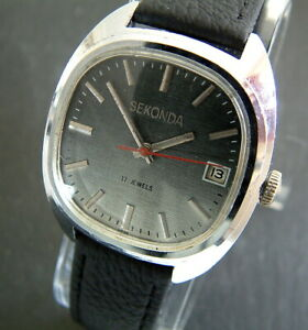 Retro 1970's Gents Sekonda Date Watch; TV Shape -  Grey 'Linen' Dial; Serviced