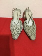 J RENEE LUXE Gray Leather SNAKE SKIN HIGH HEEL SHOES Slingback/Pointy  8.5