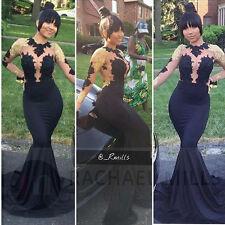 African Black Girl Prom Dresses Mermaid Long Sleeves 2017 Formal Celebrity Dress