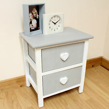 Rustic Bedside Girls/Childrens/Kids Table With Drawers Grey/White Heart Handles