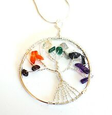 REIKI CHARGED CRYSTAL GEMSTONE CHIP TREE OF LIFE PENDANT WITH SILVER CHAIN GIFT