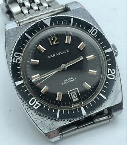 1971 CARAVELLE BULOVA HAND WIND DIVER STEEL ORIGINAL DIAL RARE DATE ON 6 O'CLOCK