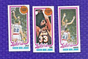 (3) 1980-81 TOPPS BASKETBALL  #132 133 135 SEPERATED KAREEM ABDUL JABBAR LAKERS