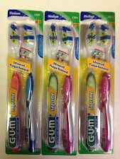 GUM Supreme Toothbrush 3 twin Pack (Lot of 3) 1394 Medium Bristles ,6 count
