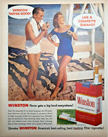 Vintage 1957 Winston Cigarettes Print Ad Art Couple on Beach at Lifeguard Stand