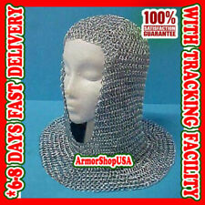 Medieval Aluminium Chain Mail Hood U-Neck chainmail coif ~ Xmas New Year Gift