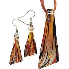 Silver Brown Triangle Lampwork Glass Murano Bead Pendant Necklace Earrings Set