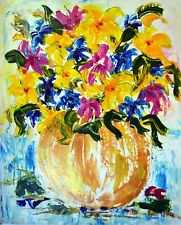 Set In Gold. Acrylic Floral Still Life Painting on Paper Artist 2000-Now
