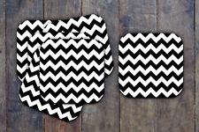 Zig Zag Black & White Drink Coasters x 6 Non fading
