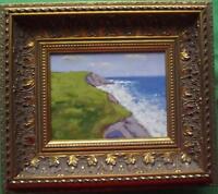 Yorkshire Cliffs : Original Impressionist Oil Painting on Board : Shaun Viney