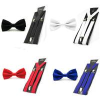 Men's Classic Solid Bowtie Elastic Y-Back Suspender Plain Bow Tie Brace Set Lot