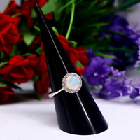 NATURAL 7 mm. ROUND WHITE RAINBOW OPAL & WHITE CZ RING 925 STERLING SILVER