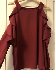 Romwe Size M, Cold Shoulder Top in Burgundy