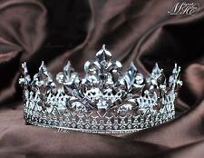 King Full Crowns Silver Tiaras Rhinestone Crystal Pageant Party Costume Art Deco