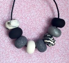 Funky Handmade Polymer Clay Silver Black White Bead Statement Necklace. NEW