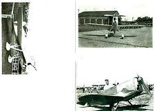 SET OF 3 - LOT #48 B&W 4X6 PHOTOS: BURROWS & IKE DELGADO MAID RACING AIRPLANES