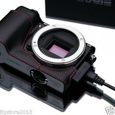 New GARIZ Sony NEX-5T Leather Half Case Black/Red For Sony Alpha NEX-5T NEX-5R