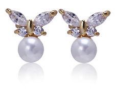 Butterflies Gold White Pearl Zircon Stud Earrings for Small Girls or Women  E745