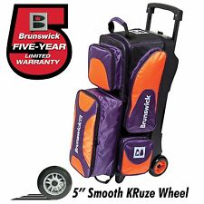Brunswick Flash X 3 Ball Bowling Roller Bag with Urethane Wheels Orange/Purple