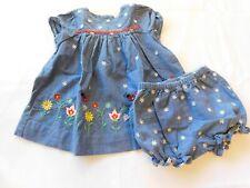 Class Club Baby Girl's Short Sleeve Dress w/ Bloomers Denim Size 6 months GUC
