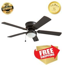 52-in Bronze Flush Mount Indoor Ceiling Fan with LED Light Kit Bulb included NEW