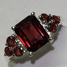 Estate Genuine 8ct Emerald Cut Fire Garnet 925 Solid Sterling Silver Ring sz 8