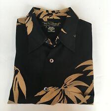 Tori Richard Hawaiian Shirt Men's Medium 100% Silk Black w Print