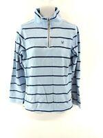 CREW CLOTHING Womens Jumper Sweater 8 Blue Stripes Cotton 1/4 Zip