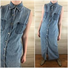 Vintage 90s Ralph Lauren Grunge Denim Blue Jean Shirt Dress Midi Long M