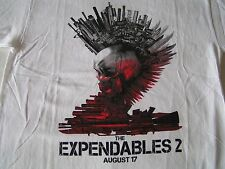 The Expendables 2 Movie T-Shirt L White Solid Arnold Schwarzenegger Punk Rock