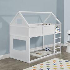 [en.casa] Hochbett 90x200cm Kinderbett mit Leiter Holz Hausbett Kinder Haus Weiß