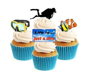 Novelty Diver / Diving Mix 12 Edible Stand Up wafer paper cake toppers birthday