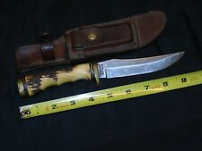 "RARE Schrade 153UH Uncle Henry 9"" Antler Handle Trailing Hunting Skinning Knife"