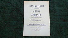 LIONEL # 55 REMOTE CONTROL AIRPLANE INSTRUCTIONS PHOTOCOPY