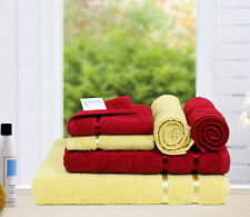 Story@Home 6 Piece 450 GSM Cotton Towel Set - Wine Red and Lemon Yellow