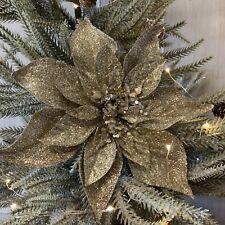 Pale Gold Glitter Poinsettia Clip On Christmas Tree Decoration Gisela Graham