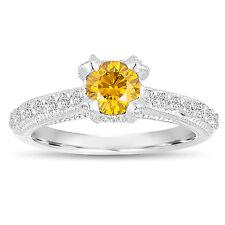 Enhanced Fancy Yellow Diamond Engagement Ring 0.80 Carat 14K White Gold Unique