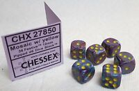 Dice - 12mm Chx ~Festive Mosaic w/Yellow Pips~ 6 Each - Multicolored, Small Size