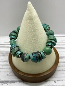 Silpada Sterling Silver Turquoise Stretch Bracelet B1301 Carved Howlite Magnasit