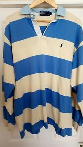 Ralph Lauren Polo Rugby shirt Large L stripes hoops top 24.5 inches p2p vintage