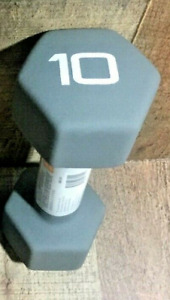 CAP Neoprene Dumbbell 10lb Single Gray Hex Weight Workout 10 Pounds Dumbell