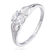 Classic 18K White Gold Filled crystal Crystals Wedding Engagement Ring,Size 9