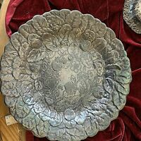 "Vintage Reed & Barton Silverplate Round 14"" Platter Embossed Strawberries #115"