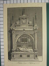 c1790 LARGE ANTIQUE PRINT ~ TOMB FRANCES COUNTESS OF SUSSEX